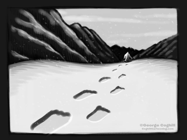 Yeti Footprints in Mountain Snow Cartoon Sketch