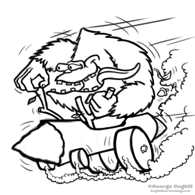 Bigfoot Log Hot Rod Cartoon Rough Sketch