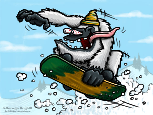Snowboarding Yeti Cartoon Character Sketch