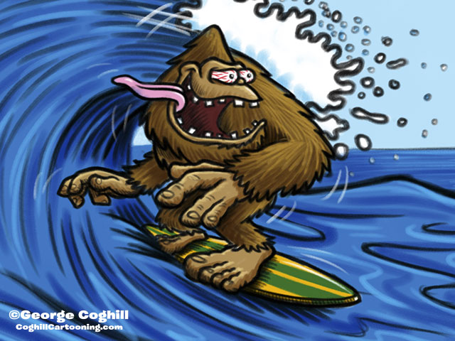 Surfing Sasquatch Cartoon Character Sketch 2