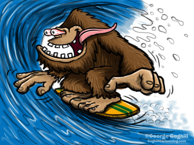 Surfin' Sasquatch Cartoon Character Sketch