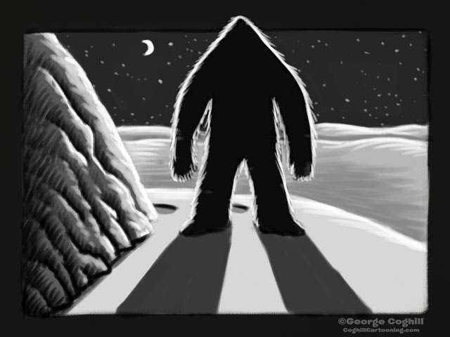 """Yeti Lair: A Shadowy Surprise"" Cartoon Sketch"