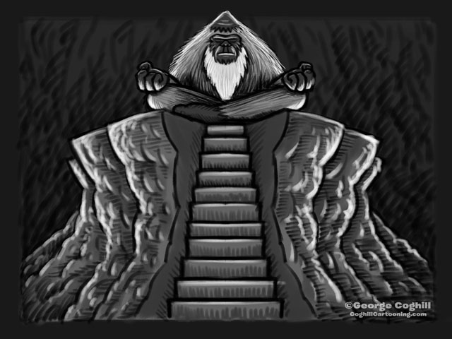 """Yeti Lair: Approaching The Master"" Cartoon Sketch"