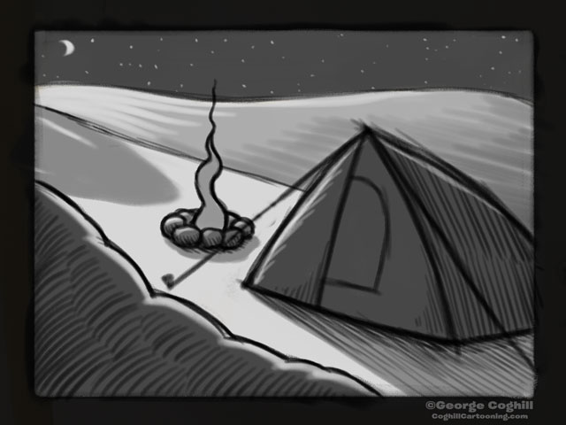 """Yeti Lair: Base Camp Visitor"" Cartoon Sketch"