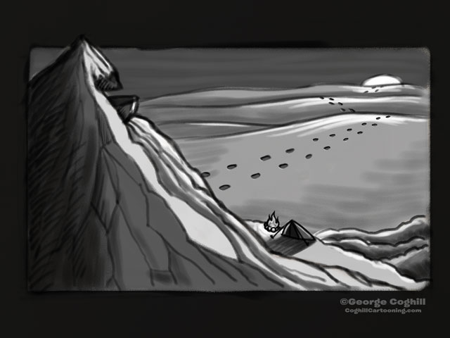 """Yeti Lair: Base Camp"" Cartoon Sketch"