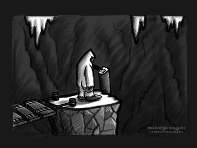 Yeti Lair: Descent Into The Further Reaches Cartoon Sketch