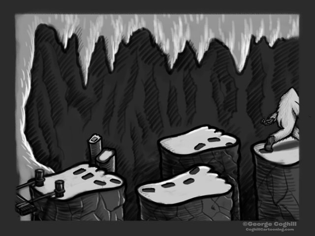 """Yeti Lair: Following Footprints"" Cartoon Sketch"
