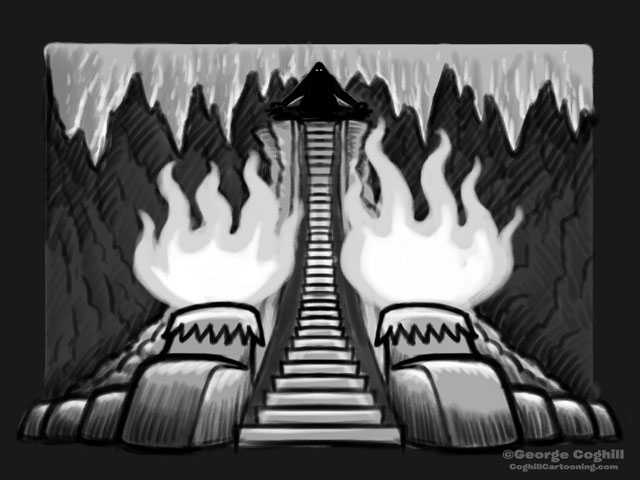 """Yeti Lair: A Master Awaits"" Cartoon Sketch"