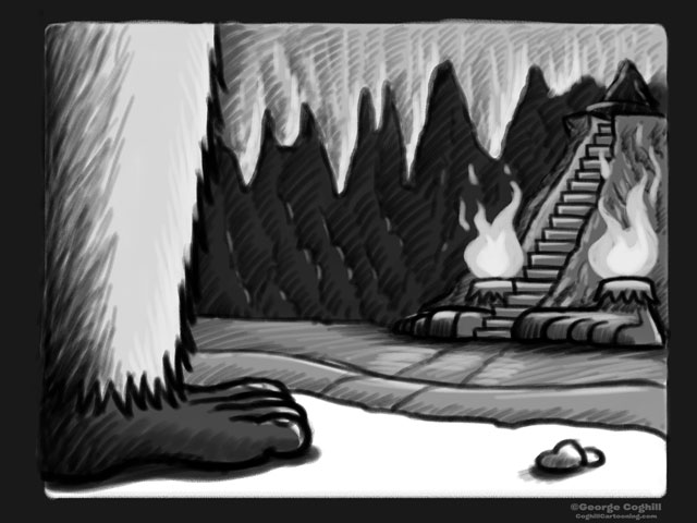 """Yeti Lair: A Plateau Within"" Cartoon Sketch"