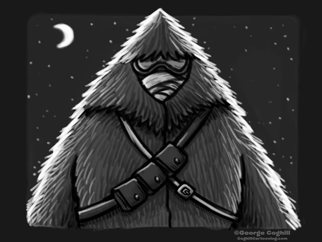 """Yeti Lair: Shadowy Spy"" Cartoon Sketch"
