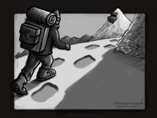 """Yeti Lair: Upward Climb"" Cartoon Sketch"