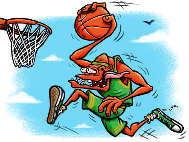 Basketball Player Hot Rod Cartoon Character Sketch