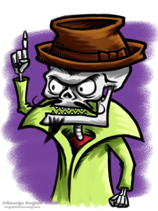 Evil Villain Skeleton Cartoon Character Sketch