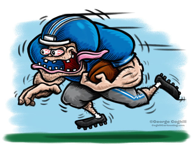 Football Player Hot Rod Cartoon Character Sketch