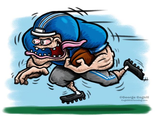 Football Player Hot Rod Cartoon Character Sketch