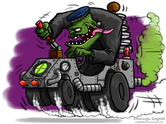 Frankenstein Lab Hot Rod Cartoon Character Sketch 2
