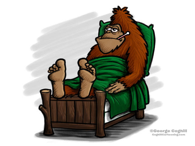 Sick Sasquatch Cartoon Character Sketch