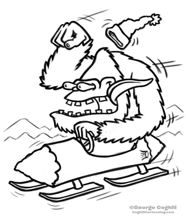Yeti Bobsled Cartoon Rough Sketch