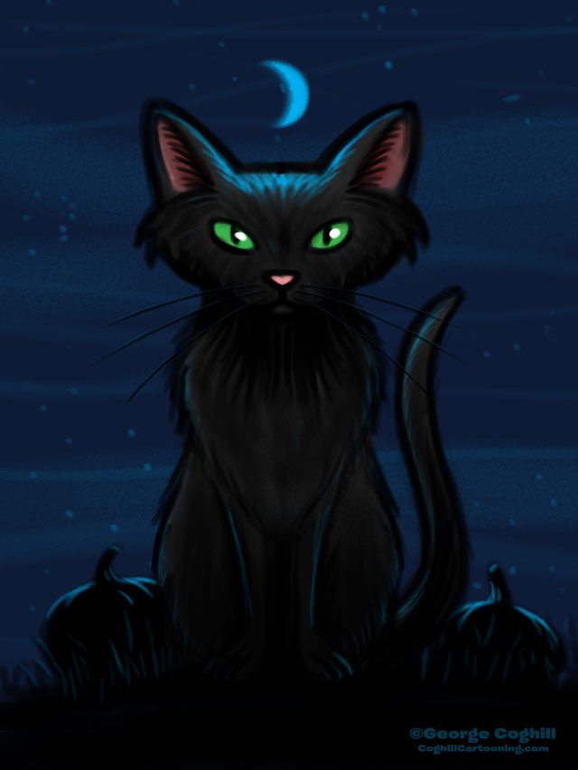 Black Cat Cartoon Character Sketch