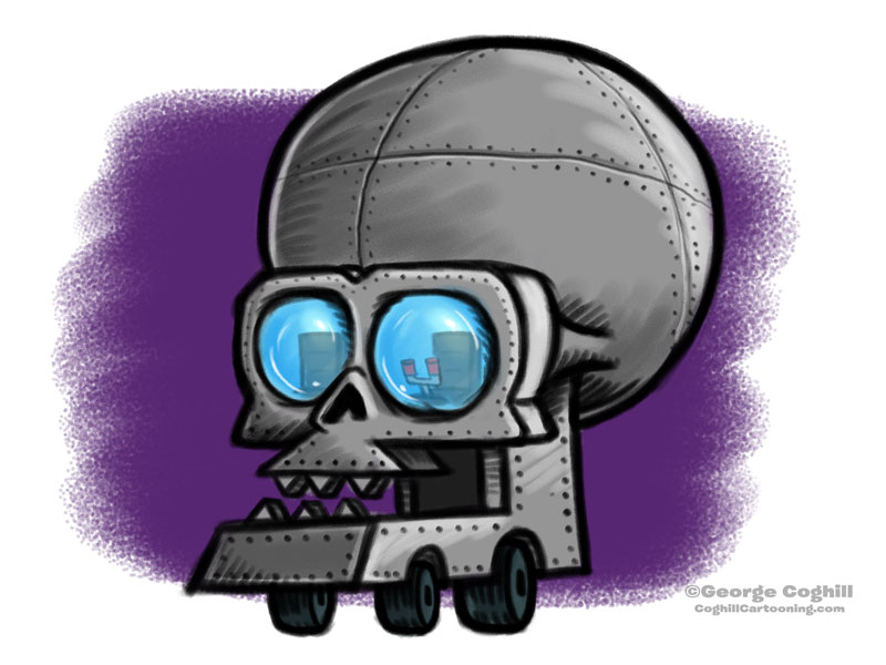 Skullmobile Cartoon Vehicle Sketch