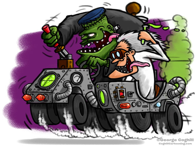 Frankenstein Lab Hot Rod with Scientist Sidecar Cartoon Character Sketch