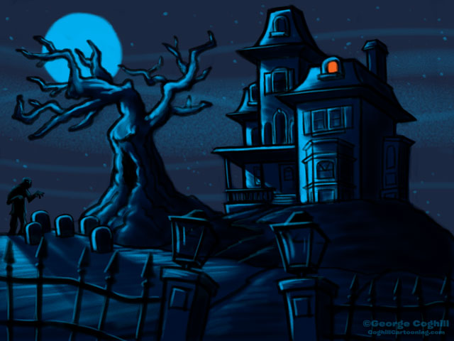 Haunted House Cartoon Sketch