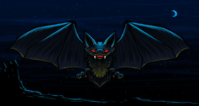 Vampire Bat Cartoon Character Sketch