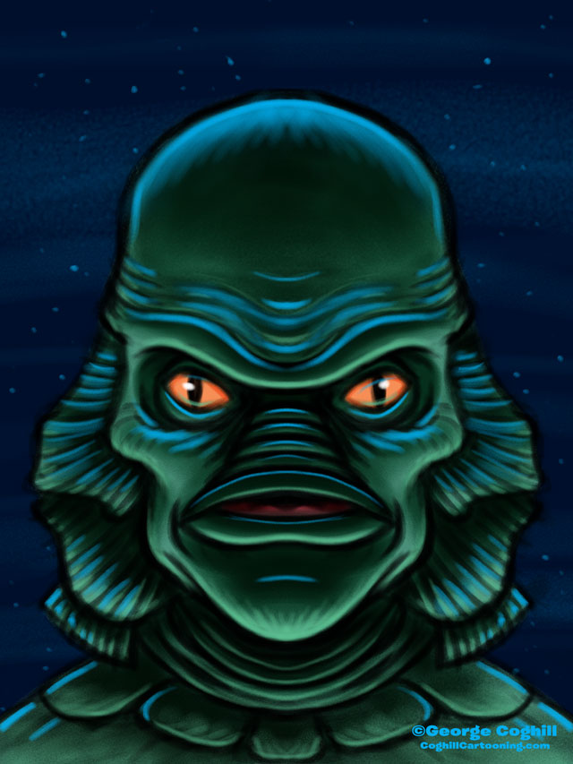Creature From The Black Lagoon Cartoon Character Sketch