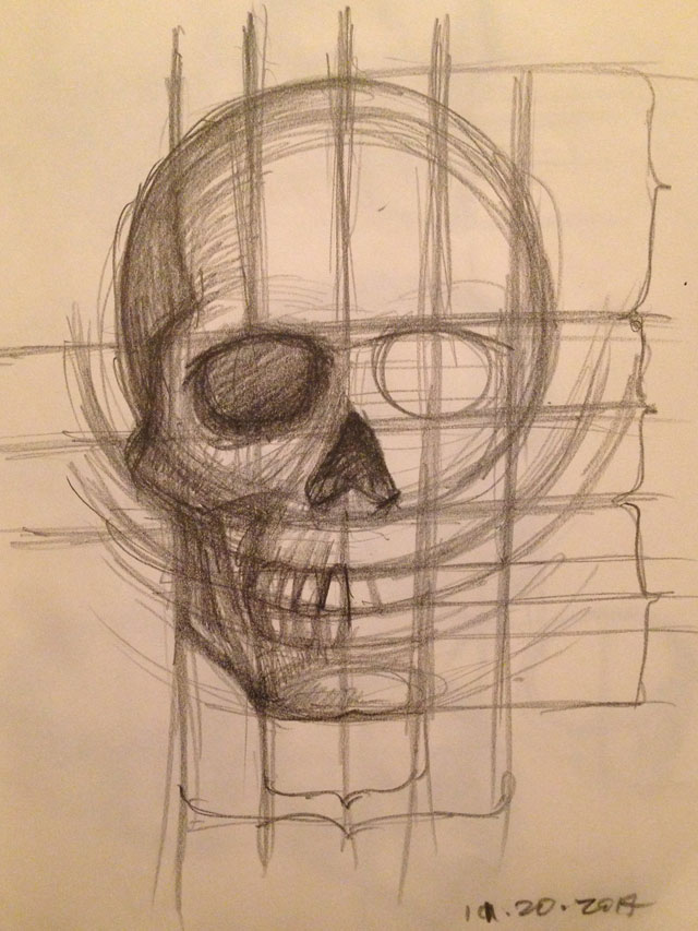 Skull Studies Front View Sketch