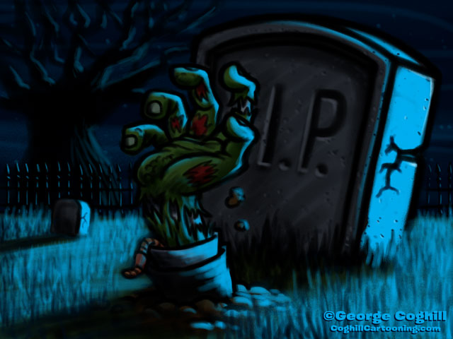 Zombie Hand Rising From Grave Cartoon Sketch