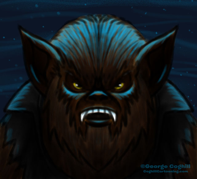 Movie Monsters Wolfman Werewolf Cartoon Character Sketch