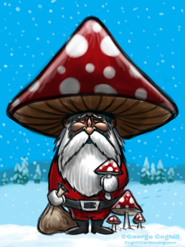 Shroom Santa Cartoon Character Sketch