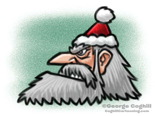 Angry Santa Cartoon Character Sketch Coghill