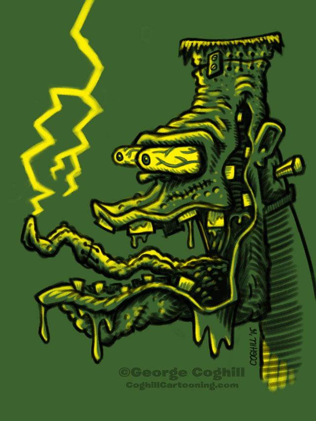 Monster Head Hot Rod Frankenstein Limited Palette Sketch