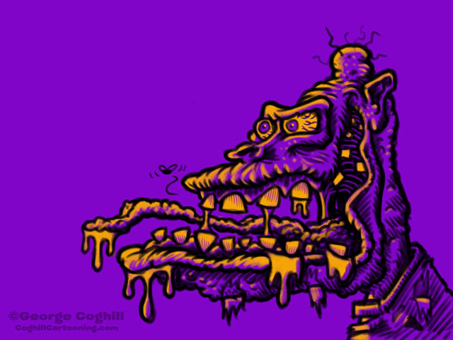 Monster Head Cartoon Zombie Limited Palette Sketch