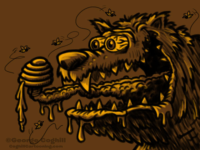 Monster Head Honey Bear Sketch Coghill