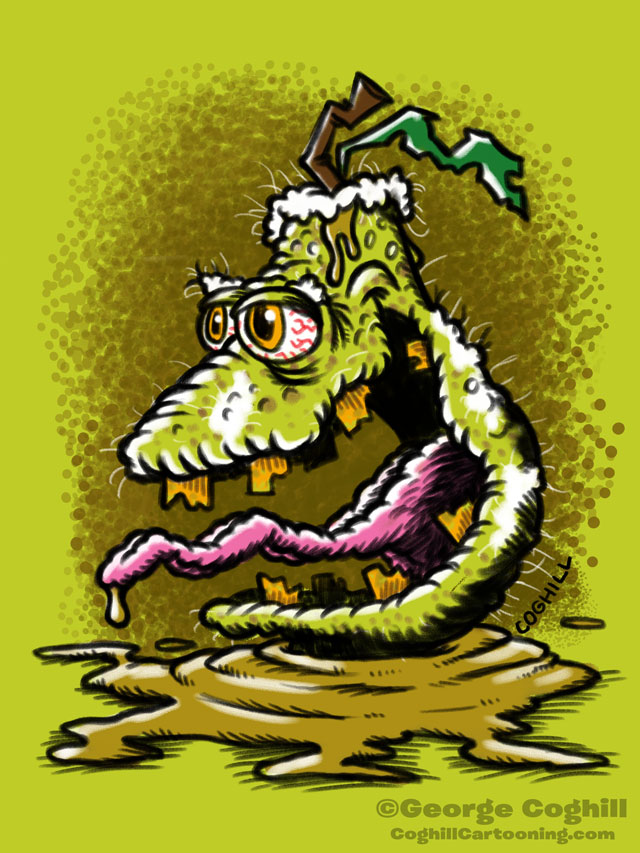 Pestilent Pear Lowbrow Fruit Food Cartoon Character Sketch Coghill
