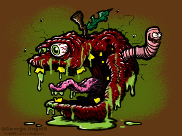 Rotten Apple Lowbrow Food Cartoon Character Coghill
