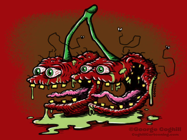 Scary Cherries Lowbrow Food Cartoon Character Sketch Coghill