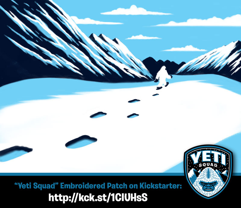 Yeti Squad Footprints In Mountain Snow Sketch Kickstarter screen print