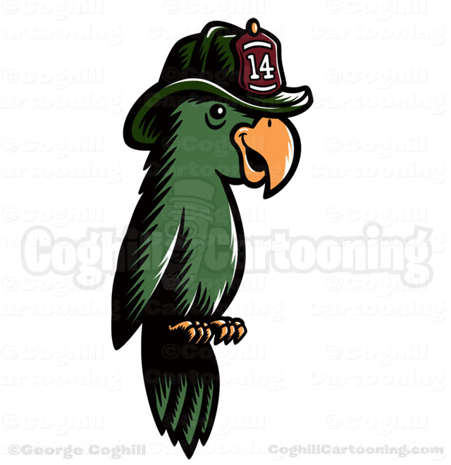 Oakbrook Brewing Company Firefighter Parrot Cartoon Character Illustration Coghill