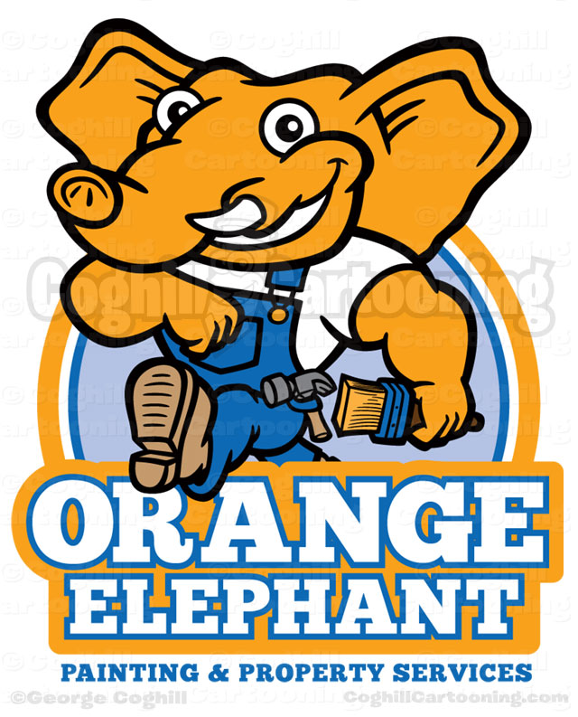 Orange Elephant Cartoon Logo Illustration Coghill