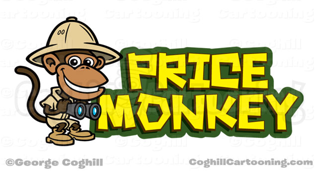 Price Monkey Jungle Explorer Cartoon Logo Illustration Coghill