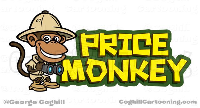 Price Monkey Jungle Explorer Cartoon Logo Illustration Coghill
