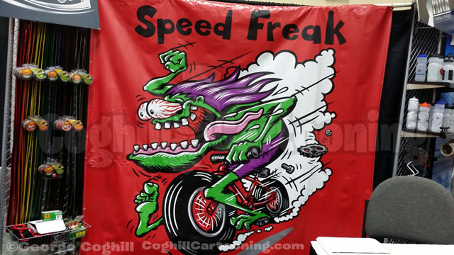 Speed Freak Bicycle Hot Rod Banner Cartoon Illustration Coghill