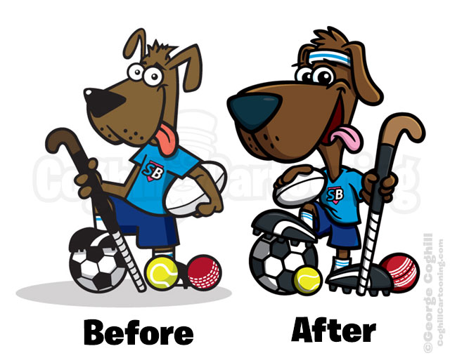 Subs Buddy Sport Dog Cartoon Mascot Character Illustration Coghill