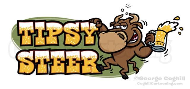 Tipsy Steer Drunk Bull Cartoon Logo Illustration Coghill