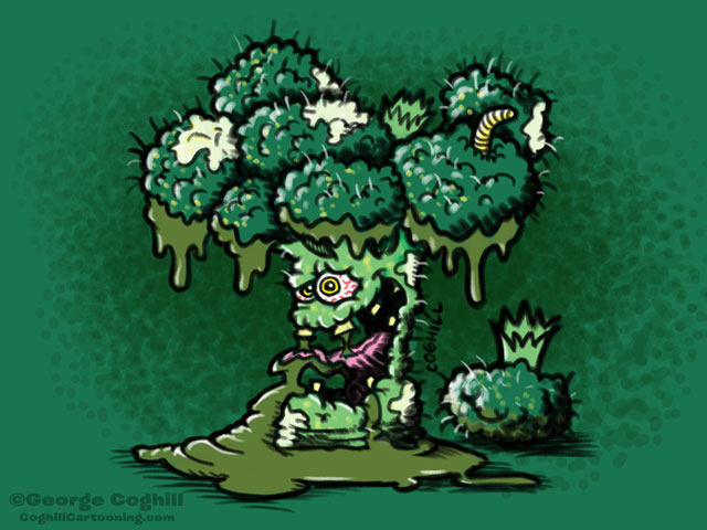 Broken Broccoli Lowbrow Food Vegetable Cartoon Character Sketch Coghill