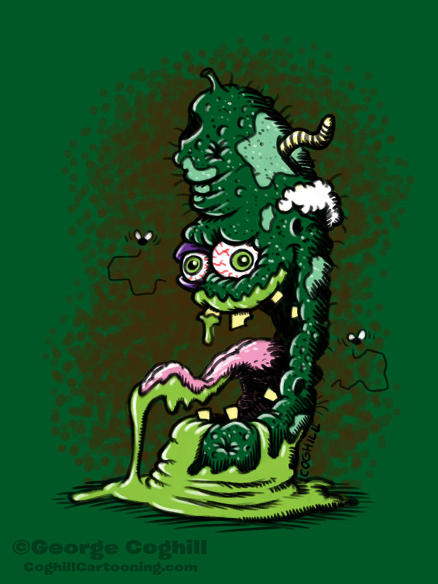 Condemned Cucumber Lowbrow Food Vegetable Cartoon Character Sketch Coghill