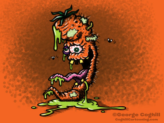 Contagious Carrot Lowbrow Food Vegetable Cartoon Character Sketch Coghill